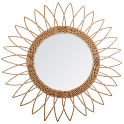 Miroir rotin soleil pointu D50