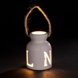 Sujet de Noël lumineux à suspendre Photophore Bocal lumineux en grès LED Blanc chaud H 9.5 cm