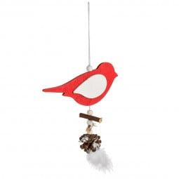 Décoration Suspension Sujet de Noël Oiseau en bois bicolore avec plumes H 30 cm Comptoir de Noël