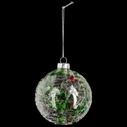 Décoration de sapin Boule de noël en verre deco branches D 8 cm  A l'orée des bois