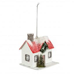 Décoration Sujet de Noël Maison en Bois enneigé H 10 cm Comptoir de Noël