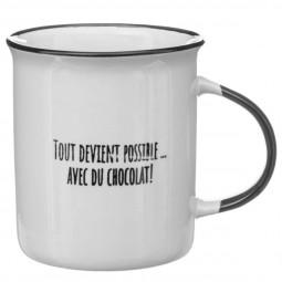 Lot de 4 mugs aspect émail chocolat 32cl