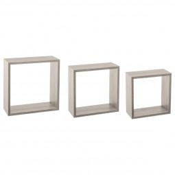 Étagères murales cubes chêne gris X3