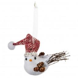 Décoration Sujet de Noël Oiseau avec bonnet et pommes de pin H 13 cm Comptoir de Noël