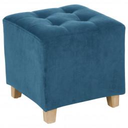Tabouret Pouf Léandre en Velours Bleu H 35 cm
