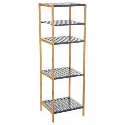 Etagère de rangement 4 niveaux en bambou et bois MDF gris Mix n'modul