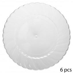 Lot de 6 assiettes plastique rondes design 26CM
