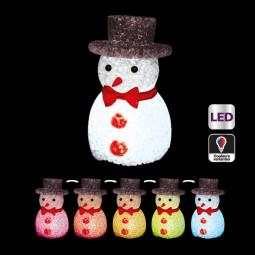 Sujet de Noël lumineux Bonhomme de neige avec chapeau  LED à variation de couleur H 11 cm