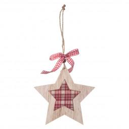 Décoration Sujet de Noël Botte en bois avec tissu vichy L 12 cm Comptoir de Noël