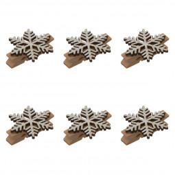 Décoration de noël Set de 6 Pinces en bois effet métal 14 cm collection Lodge