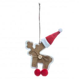 Décoration Suspension Sujet de Noël Forme en bois avec bonnet et pompons rouges L 18 cm Comptoir de Noël