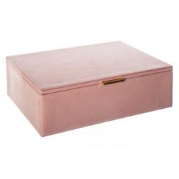 Boîte suédine rose à bijoux
