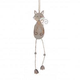 Décoration Suspension Sujet de Noël Renard en bois et métal H 31.5 cm A l'orée des bois