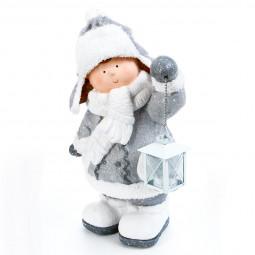 Décoration à poser Enfant avec lanterne H 40.5 cm Comptoir de Noël