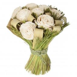 Bouquet de fleurs séchées blanc h30