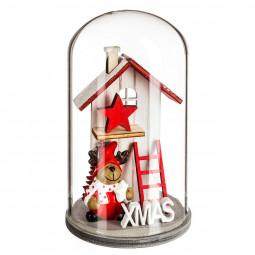 Décoration de Noël en bois sous cloche H 12 cm Comptoir de Noël