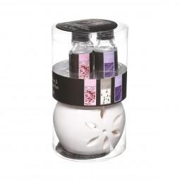 Lot de 1 brûle parfum + 3 huiles florales 10ml