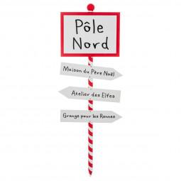 Décoration de Noël Pancarte pôle nord en bois H 120 cm American dream