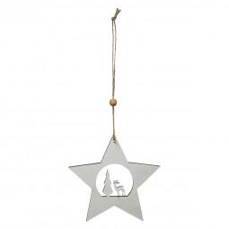 Décoration Sujet de Noël Forme en bois ajouré H 12 cm Un Noël kinfolk