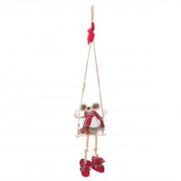 Décoration Suspension Sujet de Noël Souris en tissu sur balançoire H 65 cm Comptoir de Noël