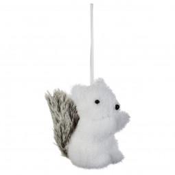 Décoration Sujet de Noël Écureuil avec queue en fourrure H 10 cm collection Lodge