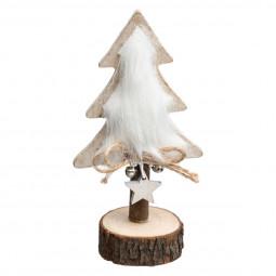 Décoration de Noël Sapin de table en bois et fourrure H 16 cm collection Lodge