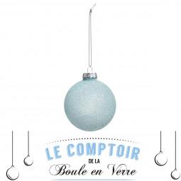 Décoration de sapin Boule de noël en verre mat et pailleté D 7 cm Un Noël kinfolk