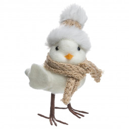 Décoration de Noël Oiseau avec bonnet et écharpe H 15 cm collection Lodge
