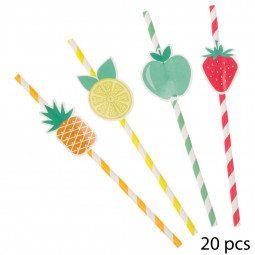 Lot de 20 pailles décor fruits