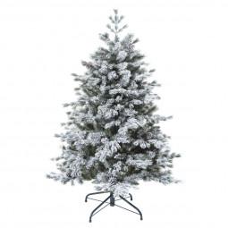 Sapin de Noël artificiel  vert floqué enneigé qualité premium H 150 cm collection Yukon