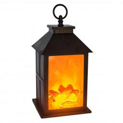 Lanterne noire feu de bois H26,5 cm