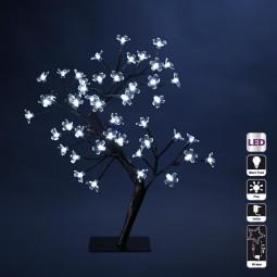 Décoration Intérieure de Noël Arbre Fleurs Prunus sur socle 48 LED Blanc froid H 45 cm