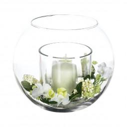 Composition florale vase verre + bougie H17