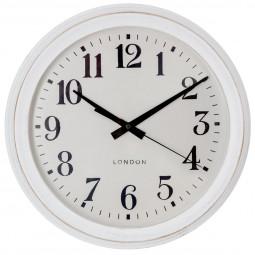 Pendule blanc brossé D35 cm