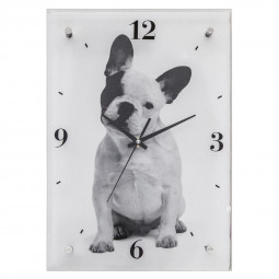 Pendule verre chien 25x36