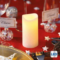 Bougie lumineuse à LED Blanc pailleté H 10 cm La maison des couleurs