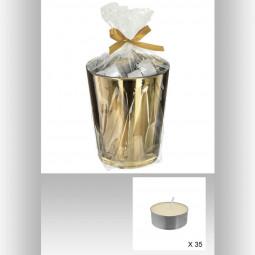 Lot 35 Bougies chauffe-plat parfumée dans pot métalisé OR