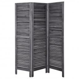 Paravent bois gris 170 x 120 cm