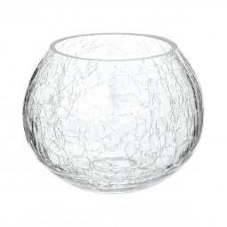 Photophore rond verre craquelé H10