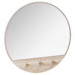 """Miroir rond et ses 3 patères """"Ethnic"""""""