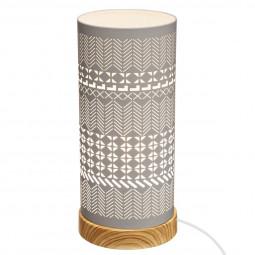 """Lampe cylindrique """"touch""""  base effet bois H 27.5 cm"""