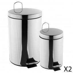 Lot de 2 poubelles inox à pédales 12L+3L