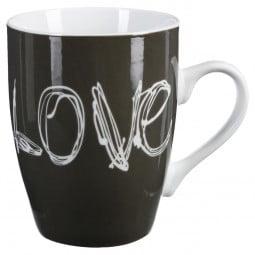 Lot de 4 mugs ronds 34cl Love