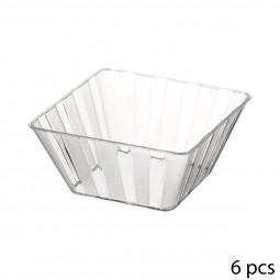 Lot de 6 coupelles carrés plastique transparentes 150ML