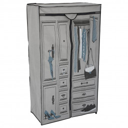 Armoire penderie en tissu intissé à motifs H154cm