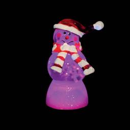 Sujet de Noël lumineux Personnage transparent LED à variation de couleur H 9 cm
