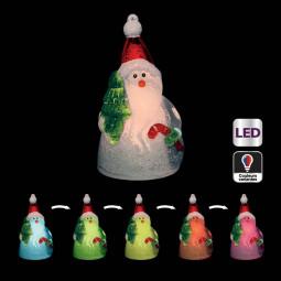 Sujet de Noël lumineux Personnage givré LED à variation de couleur H 10 cm