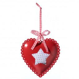 Décoration Sujet de Noël Coeur en métal et tissu L 10 cm American dream