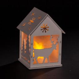 Sujet de Noël lumineux Maison en Bois LED blanc chaud H 11.5 cm