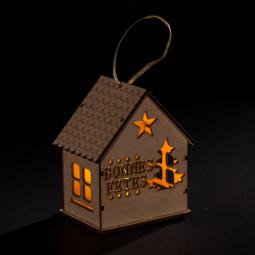 Sujet de Noël lumineux Chalet à suspendre LED Blanc chaud H 10 cm